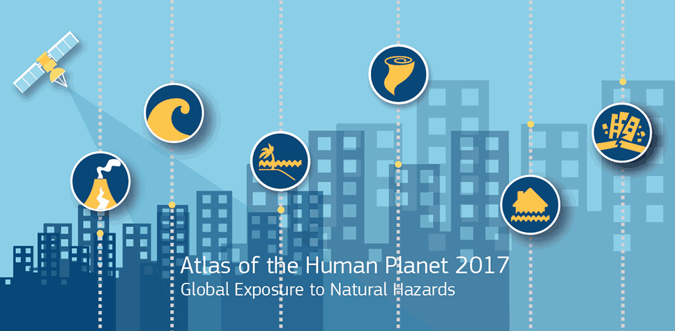 Cover of the flyer for the Atlas of the Human Planet 2017 - Global Exposure to Natural Hazard